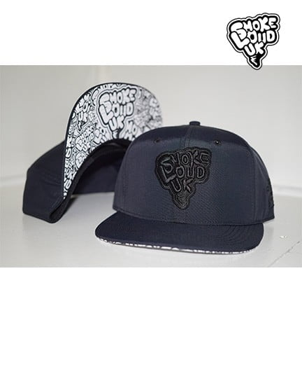 Smoke Loud UK Black on Black Gortex SnapBack with Collage Underpeak